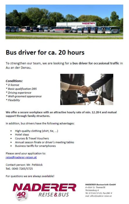 Bus driver for occasional traffic